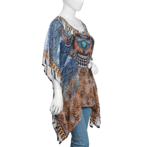 Designer Inspired- Chocolate, Blue and Multi Colour Crystal Embellished Leopard Pattern Top (Size 80x65 Cm)