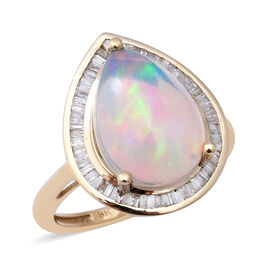 9K Yellow Gold AAA Ethiopian Welo Opal and Diamond Ring 3.66 Ct.