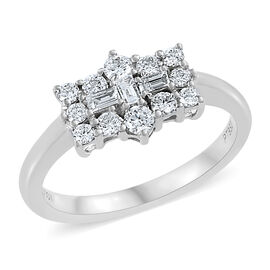 RHAPSODY 950 Platinum IGI Certified Diamond (Bgt and Rnd) (VS/E-F ) Boat Cluster Ring  0.500 Ct.