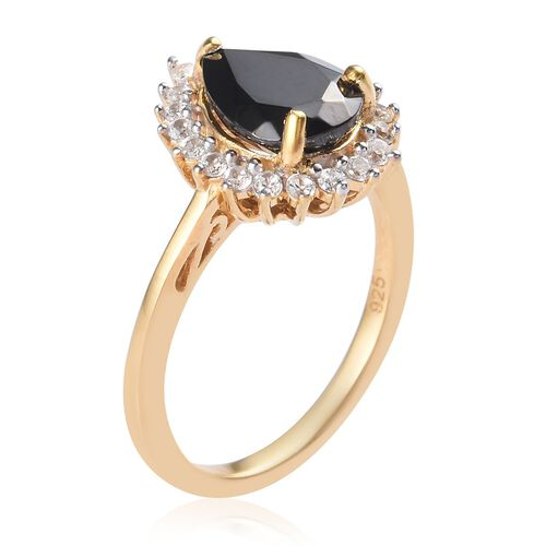 Elite Shungite and Natural Cambodian Zircon Ring in Yellow Gold Overlay Sterling Silver 1.04 Ct.