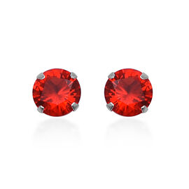 ELANZA Simulated Fire Opal Solitaire Stud Earrings in Sterling Silver
