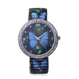STRADA Japanese Movement Blue Butterfly Pattern Water Resistance White Austrian Crystal Studded Brac