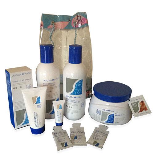 Dead Sea Spa Magik- 350ml BS Gel, 350ml B Lotion, 75ml Hand Cream, 500g Salt Brushing, 50ml Moisturiser, 4 sample sachets in a transparent duffle bag