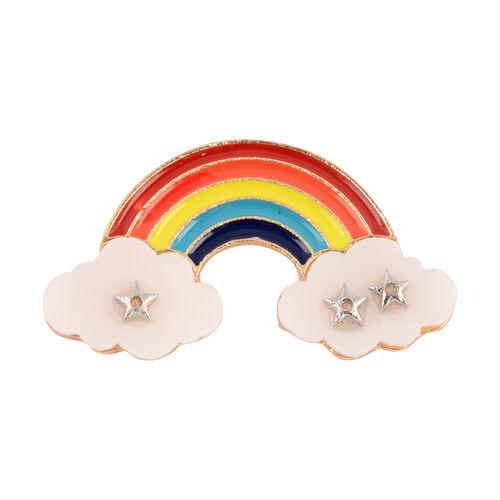 (Option - 1) Designer Inspired- Rainbow Enamelled Brooch with Cloud