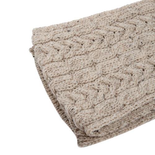 ARAN 100% Pure New Wool Irish Scarf in Nude Colour (Size One, 150x20cm)
