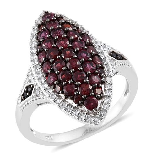 Arizona Anthill Garnet (Rnd), Boi Ploi Black Spinel and Natural Cambodian Zircon Ring in Platinum Ov