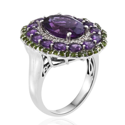 Lusaka Amethyst (Ovl 5.00 Ct), Russian Diopside and Natural Cambodian Zircon Flower Ring in Platinum Overlay Sterling Silver 7.750 Ct. Silver wt 7.08 Gms.