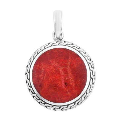 Royal Bali Collection - Red Sponge Coral Pendant in Sterling Silver, Silver wt 3.50 Gms