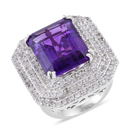 14.25 Ct AAA Amethyst and Cambodian Zircon Cocktail Ring in Sterling Silver 9.02 Grams