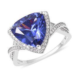 ELANZA Simulated Tanzanite (Trl), Simualted Diamond Ring in Rhodium Overlay Sterling Silver