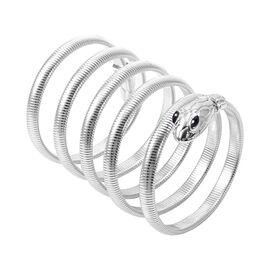 Simulated Black Diamond  Snake Wrapped Theme Bracelet (Size 7) in Silver Tone