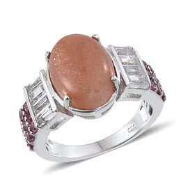 Morogoro Peach Sunstone (Ovl 6.25 Ct), Rhodolite Garnet and White Topaz Ring in Platinum Overlay Sterling Silver 8.250 Ct.
