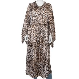 Leopard Printed Satin Finish Dressing Gown (UK Size 8 - 18) - White and Brown - 50 Inch Length