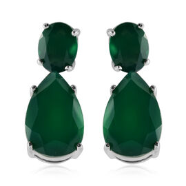 10.30 Ct Green Onyx Drop Earrings with Push Back in Rhodium Plated Silver