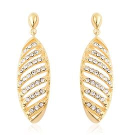 J Francis White Crystal from Swarovski Dangle Earrings in Yellow Gold Tone