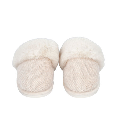 Knitted Chenille Slippers with Faux Fur (Size L: 7-8) - Ivory