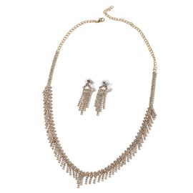 2 Piece Set - White Austrian Crystal (Rnd) Tassel Earrings (with Push Back) and Necklace (Size 22) in Yellow Gold Tone