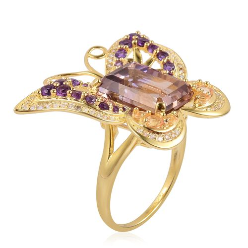 Designer Inspired-Anahi Ametrine (Oct 9.75 Ct), Citrine, Amethyst and Natural White Cambodian Zircon Butterfly Ring in Yellow Gold Overlay Sterling Silver 11.580 Ct.