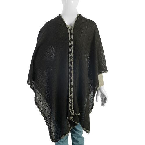 Black Colour Crochet Work Poncho (Size 92x52 Cm)