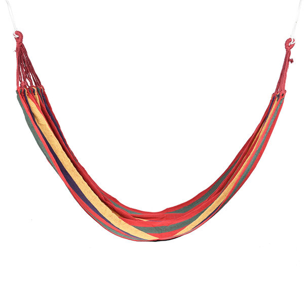 Indoor Outdoor Colourful Striped Camping Hammock (Size 1.85x80 Cm) - Red & Multi