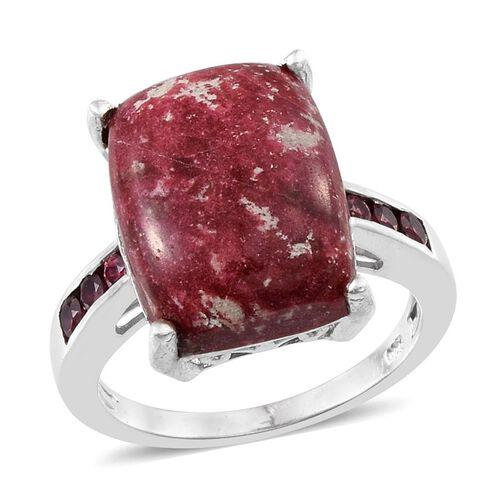 Norwegian Thulite (Cush 13.75 Ct), Rhodolite Garnet Ring in Platinum Overlay Sterling Silver 14.250 Ct.
