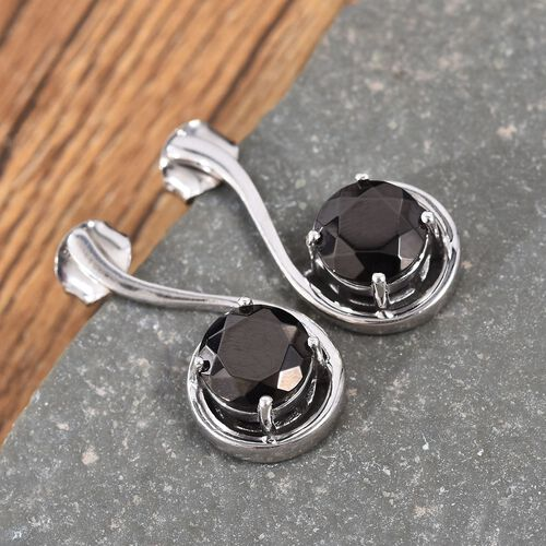 Elite Shungite (Rnd) Earrings (with Push Back) in Platinum Overlay Sterling Silver 2.00 Ct.