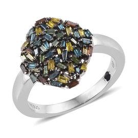 GP Rainbow Colour Diamond (Bgt), Kanchanaburi Blue Sapphire Ring in Black and Platinum Overlay Sterl