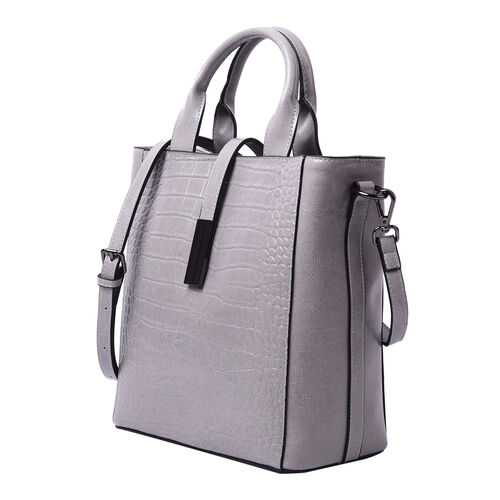 Sencillez Croc Embossed 100% Genuine Leather Convertible Bag in Light Grey