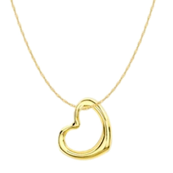 Vicenza Collection 9K Yellow Gold Heart Pendant with Chain (Size 18) with Spring Ring Clasp
