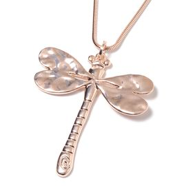 Rose Gold Plated Dragonfly Pendant With Chain (Size 29 with 2.5 inch Extender)