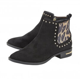 Lotus Lolita Ankle Boots in Black and Leopard Print Details