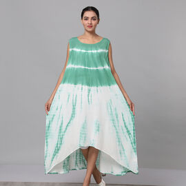 Tie & Dye Umbrella Dress in Green and White (Size upto 18)