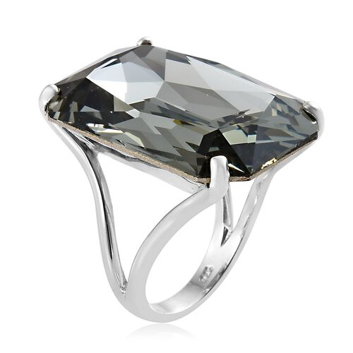 J Francis Crystal from Swarovski - Rare Size Black Diamond Colour Crystal (Oct 27x18 mm) Ring in Platinum Overlay Sterling Silver, Silver wt 5.70 Gms.