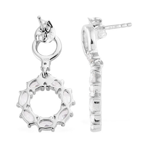 Swarovski Zirconia (3.00 Ct) Platinum Overlay Sterling Silver Earring  3.000  Ct.