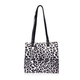 Leopard Pattern Velvet Tote Bag with Magnetic Closure (Size 29x28x12 Cm) - Beige