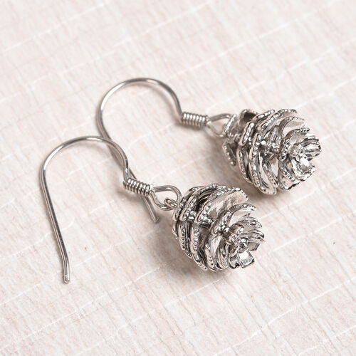Platinum Overlay Sterling Silver Pine Cone Hook Earrings, Silver wt. 7.22 Gms