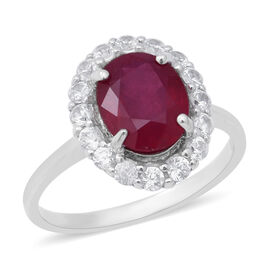 4.86 Ct African Ruby and Zircon Halo Ring in Rhodium Plated Silver