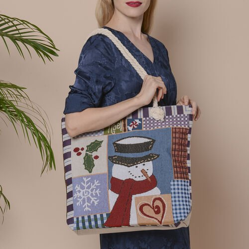 Christmas Collection Snowman Print Jute Tote Bag (Size 42x34x9x37cm) - Multi Colour