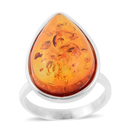 8 Ct Baltic Amber Soliatire Ring in Sterling Silver