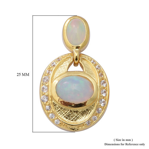 Ethiopian Welo Opal and Natural Cambodian Zircon Earrings in Yellow Gold Overlay Sterling Silver 2.76 Ct, Silver wt 5.45 Gms