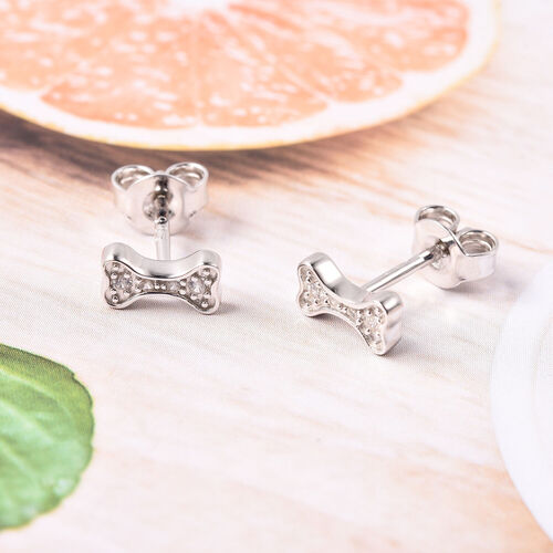 RACHEL GALLEY - Natural Cambodian Zircon Dog-Bone stud Earrings (with Push Back) in Rhodium Overlay Sterling Silver