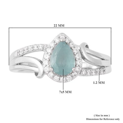 Grandidierite (Pear 7x5 mm), Natural White Cambodian Zircon Ring in Rhodium Overlay Sterling Silver 1.04 Ct.