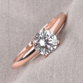 J Francis Rose Gold Overlay Sterling Silver Solitaire Ring Made with SWAROVSKI ZIRCONIA