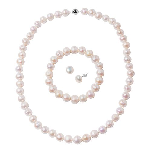 3 Piece Set - Big Size Freshwater White Pearl (9-11mm) Necklace (Size 20), Bracelet (Size 6.50) and
