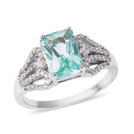 Lustro Stella Simulated Green Spinel and Simulated Diamond Classic Ring in Rhodium Plated Silver