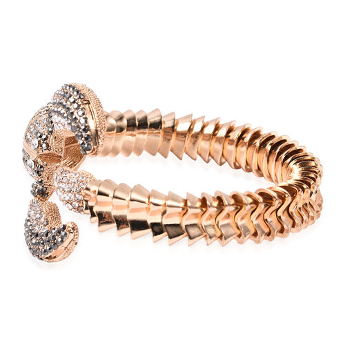 Hematite Colour Austrian Crystal and White Austrian Crystal Scorpion Bangle (Size 7) in Yellow Gold Tone