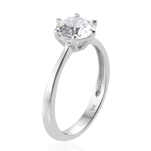 J Francis - 9K White Gold (Rnd 7mm Equivalent 1.28 Cts) Solitaire Ring Made with SWAROVSKI ZIRCONIA