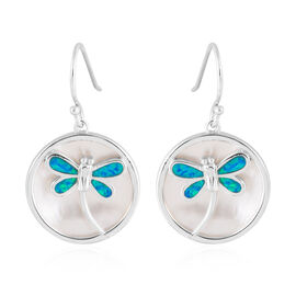 New Concept - Simulated Ocean Blue Opal and Mother of Pearl Dragonfly Earrings (with Hook) in Sterling Silver.