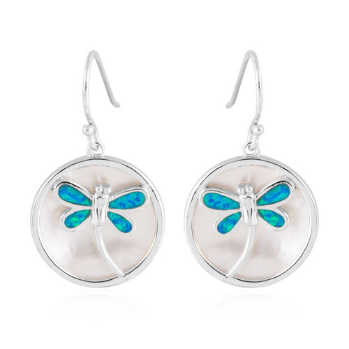 New Concept - Simulated Blue Opal and Mother of Pearl Dragonfly Earrings (with Hook) in Sterling Sil