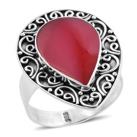 Royal Bali Collection - Red Sponge Coral Ring in Sterling Silver, Silver wt. 4.42 Gms